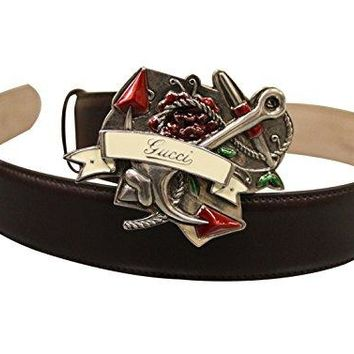 Gucci Brown Leather Heart Tattoo Metal Buckle Belt 308045 (80 / 32)