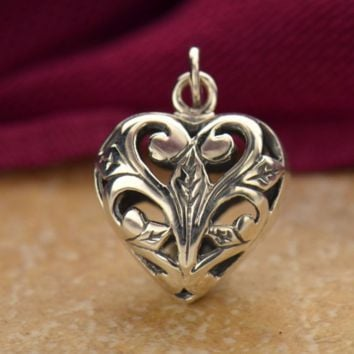 Heart Charm with Open Scroll Work