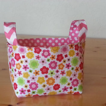 Small Fabric Storage Bin Basket- Pink Flower and Dot