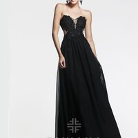 Faviana Glamour S7453 - Black Strapless Embroidered Prom Dresses Online