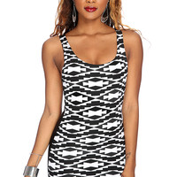White Black Tribal Print Party Dress