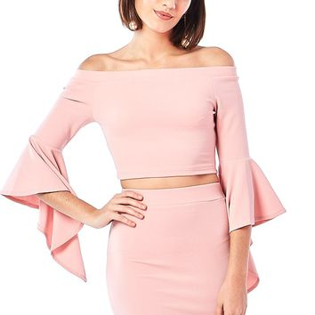 Cotton Candy Bell-Sleeve Crop Top