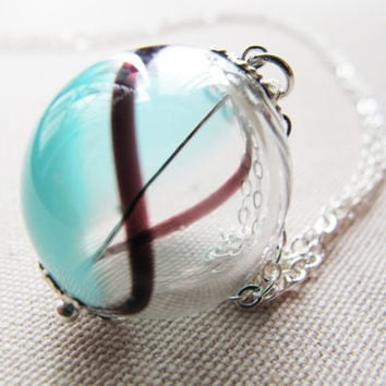 Glass bead necklace, Sea Surfing, breezy charm, Glass Ball Pendant, Hollow Glass Ball charm, Glass blowing, Colour transformations charm
