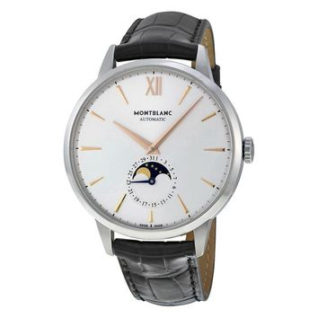 Montblanc Heritage Spirit Automatic Silvery White Dial Black Leather Mens Watch
