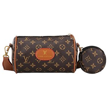 LV&GUCCI Fashion New Monogram More Letter Print Shopping Leisure Shoulder Bag And Wallet Two Piece Suit Bag