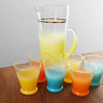 Blendo West Virginia Glass juice set includes pitcher and 6 cups - Mid Century Modern - ombre glassware wit gold rim