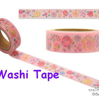 Butterfly Rose washi tape garden flower washi tape Japanese pape tape pinky rice tape butterfly Masking Tape sticker deco tape Clothes pin