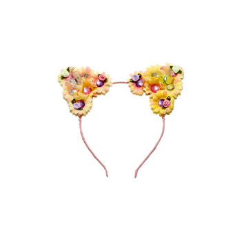 Spring Cat Ear Headband, Floral Cat Ears, Kitty Ears Headband, Flower Headband, Spring Headband, Festival Headband, Cat Costume, Rave Wear