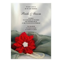 Poinsettia and Pearls Winter Wedding Invitation