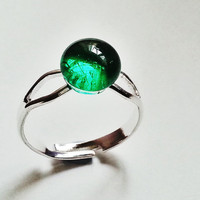 Small Glass Ring - Transparent Emerald - Adjustable Nickel Free - Pretty Double Shaft - Art Quality Fused Glass
