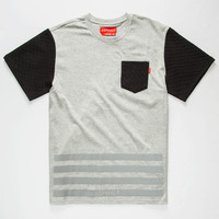 Ayc Quilt Block Boys Pocket Tee Grey  In Sizes