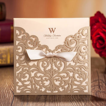 Laser Cut Wedding Invitations with Bowknot 50PCS