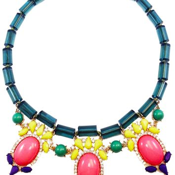Jewel Fantasy Necklace - Green & Pink