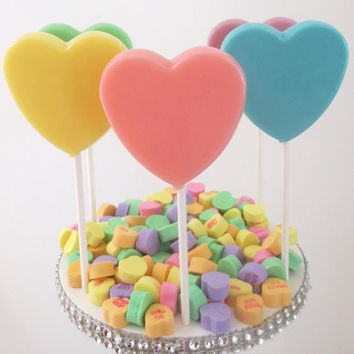 Pastel Hearts Gourmet Lollipops - Set of 8 - Pastel Party Favors  - Spring Party Favors - Wedding Favors - Heart Favors