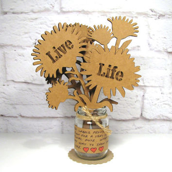 LIVE LIFE - Cute Inspirational Gift Idea Corrugated Cardboard Flowers Bouquet In Mini Mason Jar