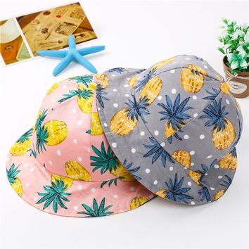 Summer Spring Cute Lovely Adorable Sweet Fruit Pineaple Unisex Girl Boy Printed Soft Hats Outdoor Sun-proof Dad Bucket Hat Caps