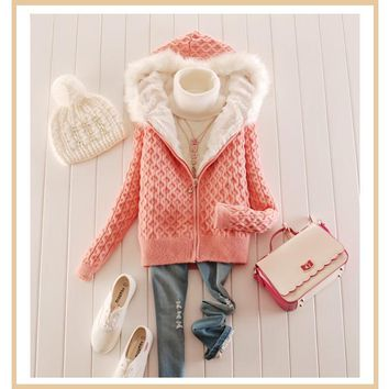 Streetstyle  Casual Pink Plain Zipper Hooded Long Sleeve Cardigan Sweater