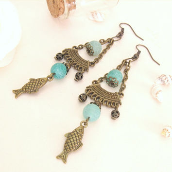 Seafoam agate chandelier earrings, bronze fish charms