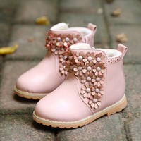 Winter Toddler Baby Boot Korean Flower Thicken Girl Pirncess Snow Boots Good Quality Pu Leather Small Kids Martin Shoes GR132 = 1946195716