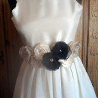 Ribbon Sash Navy Blue Ivory and Beige Dress Sash for Brides  Bridesmaids or Flower Girls Satin Chiffon Fabric Flowers Available in Any Color
