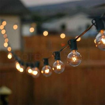 Patio Lights G40 Globe Party Christmas String Light,Warm White 25Clear Vintage Bulbs 25ft,Decorative Outdoor Backyard Garland