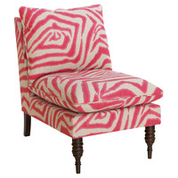 Bacall Slipper Chair, Pink Zebra, Accent & Occasional Chairs