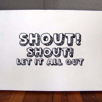 Embroidered Wall Art. Shout Shout Let It All Out.  Art on Canvas Frame 9 X 12.  Tears For Fears. Minimalist home decor