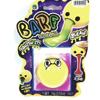 EMOJI BARF Yellow Angry Face With Pink Slime Squishy Slime Ball With 1 Packet .53oz Of Goop