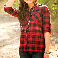 FIRESIDE PLAID BUTTON UP TOP