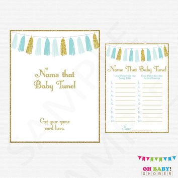 Name that Baby Tune, Blue and Gold Baby Shower, Name that song baby, Printable Baby Shower Games Boy, Baby Shower Sign, Gold Tassels TASBG