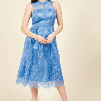Ethereal Enlivening Midi Dress in Lapis