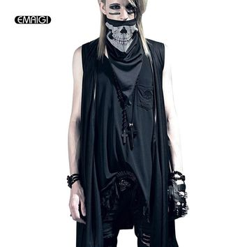 Men Shawl Vest Punk Rock Gothic Style Cardigan Jacket Waistcoat Nightclub Clothing Male Fashion Long Loose Vest Coat