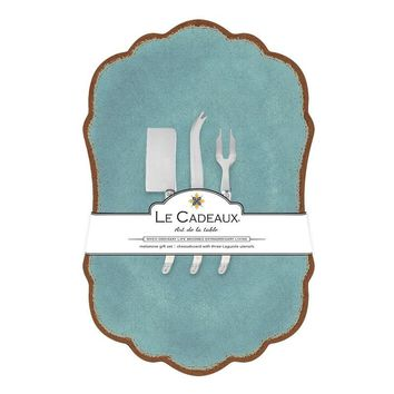 Antiqua Turquoise Large Cheese Board with Utensils