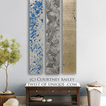 Metallic abstract  Painting - CUSTOM -  panel 3 panel abstract Wall Art- Spring rain home wall decor - blue, silver, dark blue, sky, gray,