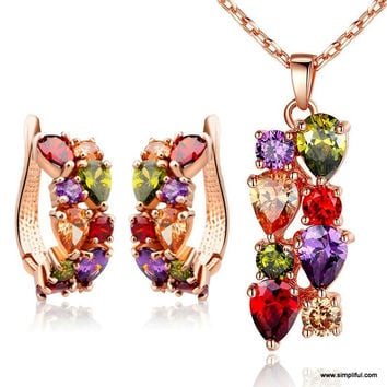 Multi color CZ stone - Rose gold plated trendy pendant and earring set