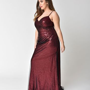 Plus Size Dark Auburn Red Sequin Sexy Mesh Gown