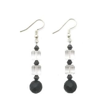 Clear Cube and Round Faceted Crystal Bead Stacked Earrings
