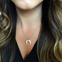 Diamond Drip Mini Double Horn Necklace, Bone Crescent Moon, Upside Down Moon