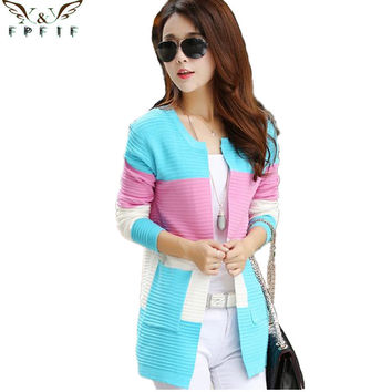 Free shipping 2016 fall and winter cardigan sweater Knitted Cotton Patchwork O-Neck Pink/Blue/red Fashion Leisure cardigan women