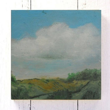 modern house art tiny - clouds in the countryside - landscape - oil on wood - ready to hang on the wall or use it as greeting card