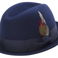Navy Blue Men's Stingy Snap Brim Fedora Hat Hard Felt Center Crease With Feather Accent By Montique H-53