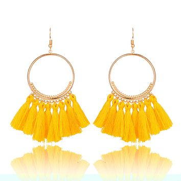 Golden Round Circle Drop Earrings