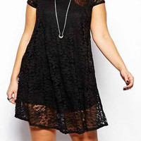 Black Short Sleeve Lace Dress
