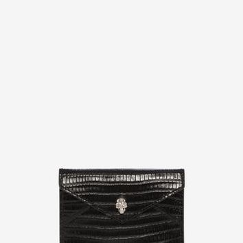 Embossed Leather Envelope Card Holder | Alexander McQueen