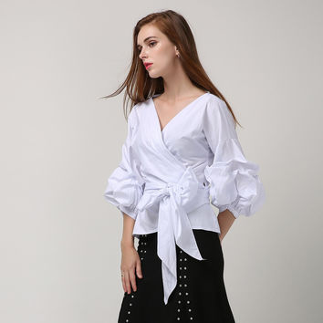 [TWOTWINSTYLE] Summer Korean Puff Sleeves Cross V Neck Plus Size Women T shirt With Lace Up Fashion Pink Plaid White Black Color