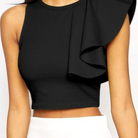 Black Sleeveless Ruffled Cropped Top
