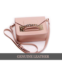 Pink Leather Purse with Gold Accents