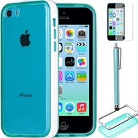 ULAK [ Soft Slim ] Light Weight Transparent Case for Apple iPhone 5C Frost Back Transparent Bumper Cover (Blue / White Bumper)