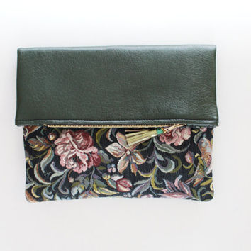 ANDY / Floral fabric & green leather folded clutch bag - Ready to Ship