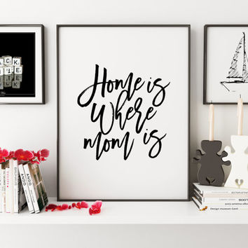 PRINTABLE Art,Home Is Where Mom Is,Love Sign,Mothers Day Gift,Wall Art,Typography Prints,Quote Print,Hand Letter Mothers Day From Daughter